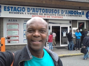 Kerwin in Andorra at Bus Station