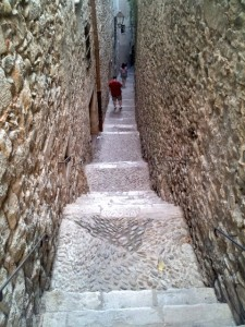 Narrow Street in Jewish Quarter in Girona Costa Brava
