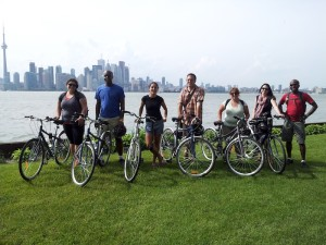 Travel Bloggers Biking in Toronto Island