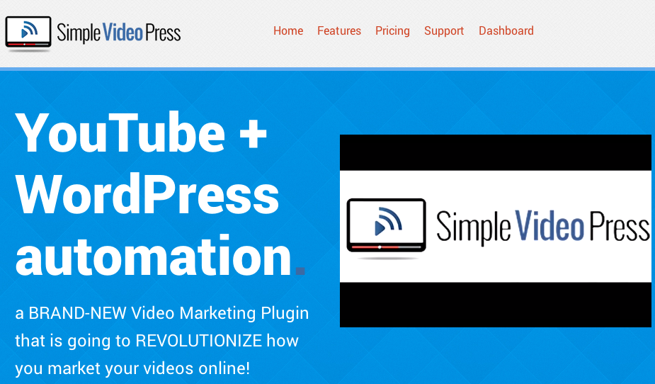 Simple Video Press Screenshot Page