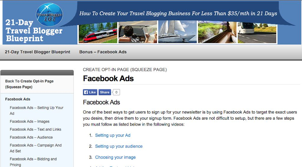 Facebook Ads-Travel Blogger 101 21 Days Blueprint