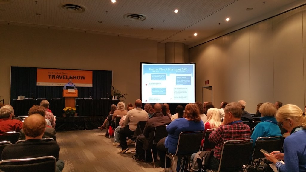 NY Times Travel Show 2015 - Lee Abbamonte talking about using twitter and DMing your travel partners when traveling