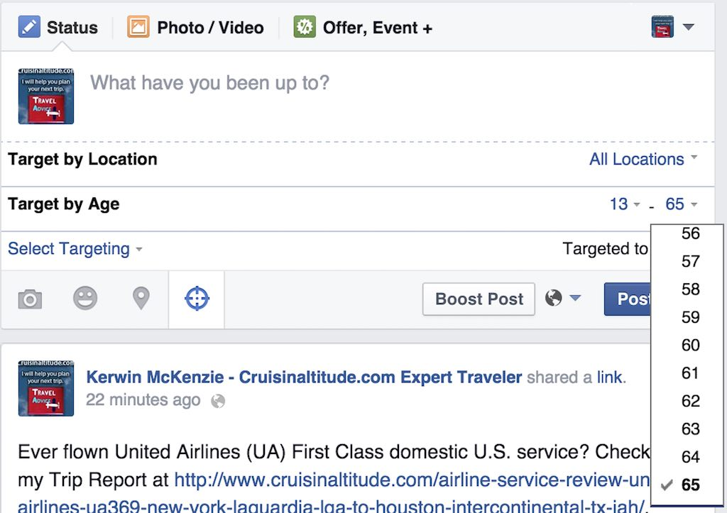 Facebook Select Targeting option - Target By Age