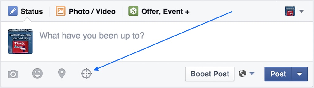 Facebook Select Targeting option - First Step