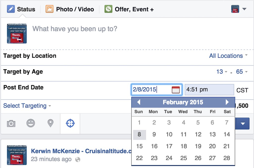 Facebook Select Targeting option - Post End Date