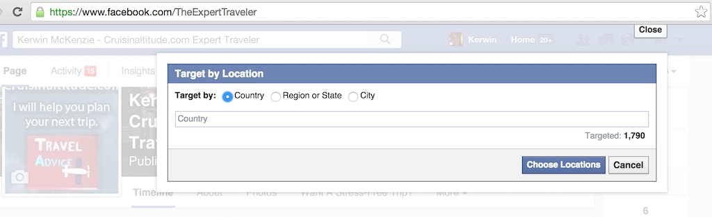 Facebook Select Targeting option - Target By Location