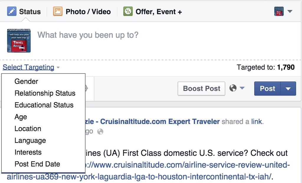 Facebook Select Targeting options