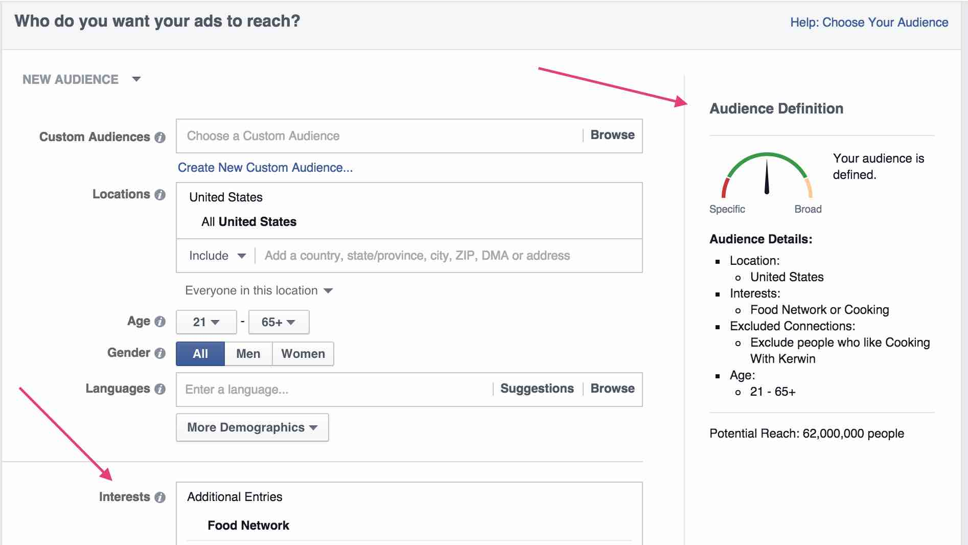 Facebook Ads - Defining Audience