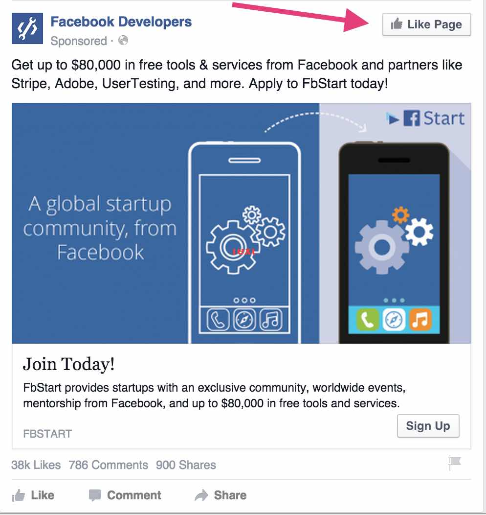 Facebook Ads with Like Icon On Ad